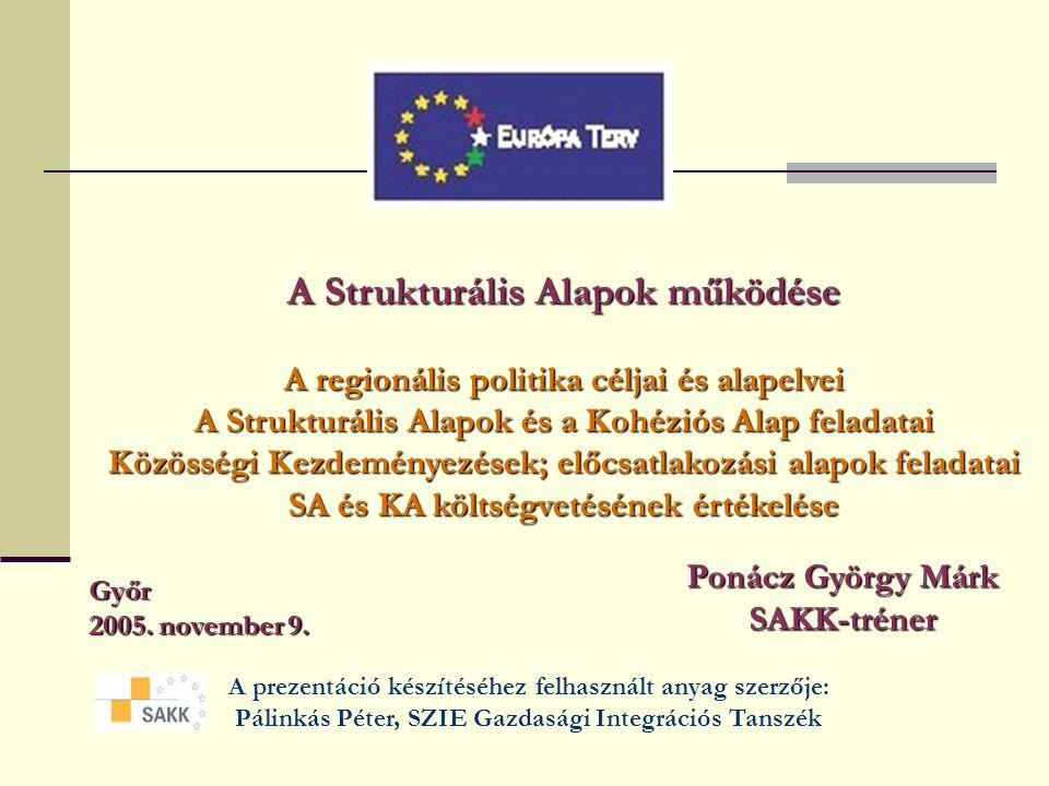 A Strukturális Alapok működése A regionális politika céljai és alapelvei A Strukturális Alapok és a Kohéziós Alap feladatai Közösségi Kezdeményezések; előcsatlakozási alapok feladatai SA és KA költségvetésének értékelése Győr 2005.
