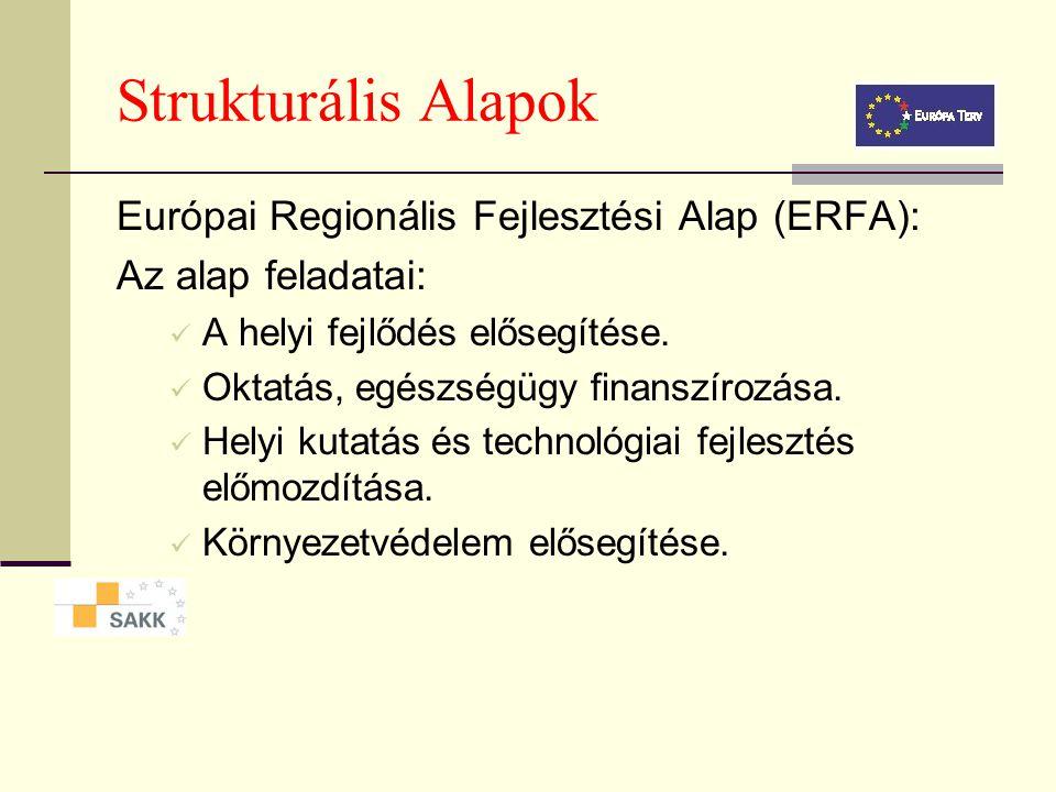 Strukturális Alapok Európai Regionális Fejlesztési Alap (ERFA): Célja: a gazdasági és társadalmi kohézió támogatása a regionális egyenlőtlenségek felszámolása révén, a régiók fejlesztésében és átalakulásában való részvételével.