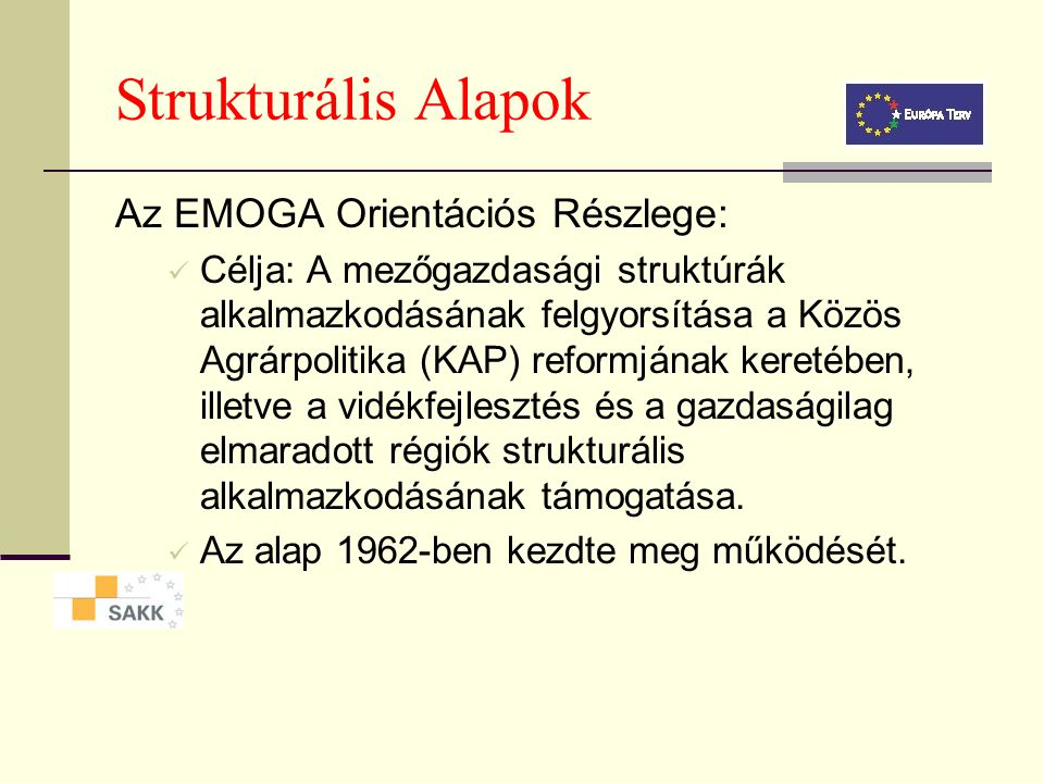 Strukturális Alapok Európai Szociális Alap (ESZA): Az alap feladatai: Szakképzés.