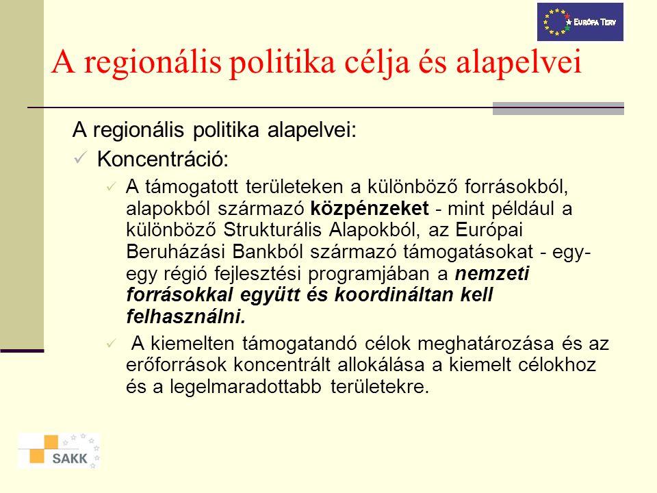 A regionális politika célja és alapelvei A regionális politika célja: Az Európai Unió egyes részei, régiói közti különbségek mérséklése, az elmaradott, kevésbé fejlett régiók felzárkózásának elősegítése.