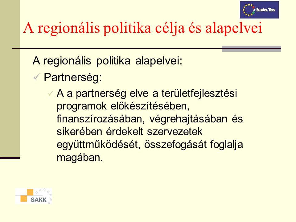 A regionális politika célja és alapelvei A regionális politika alapelvei: Partnerség: A a partnerség elve a területfejlesztési programok előkészítésében, finanszírozásában, végrehajtásában és sikerében érdekelt szervezetek együttműködését, összefogását foglalja magában.