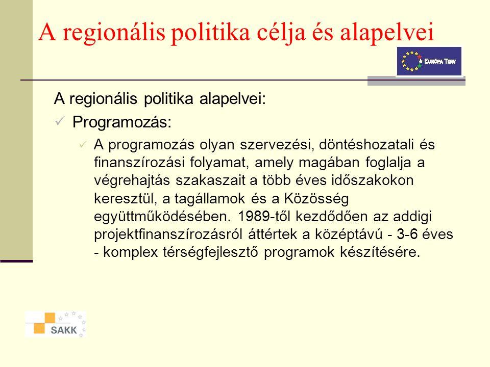 A regionális politika célja és alapelvei A regionális politika alapelvei: Partnerség: A a partnerség elve a területfejlesztési programok előkészítéséb