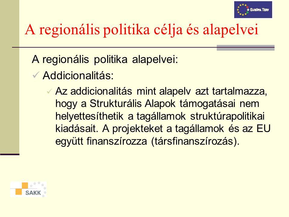 A regionális politika célja és alapelvei A regionális politika alapelvei: Addicionalitás: Az addicionalitás mint alapelv azt tartalmazza, hogy a Strukturális Alapok támogatásai nem helyettesíthetik a tagállamok struktúrapolitikai kiadásait.