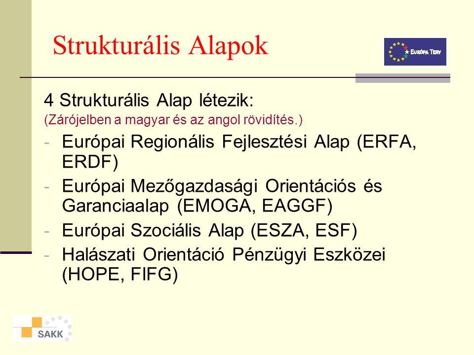 Strukturális Alapok A Strukturális Alapok szétosztása: Az Európai Unió a társadalmi elmaradottsággal, a súlyos gazdasági és társadalmi válsággal, illetve munkanélküliséggel küszködő támogatásra javasolt területeket előre meghatározott statisztikai mutatók alapján választja ki és sorolja be a három célkitűzés egyikébe.