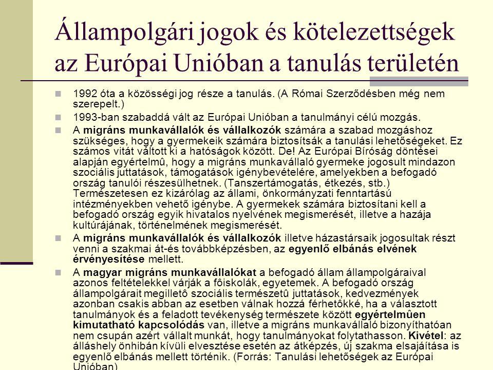 Felsőoktatási modellek az Európai Unióban Az európai uniós országok oktatáspolitikája az egyes tagországok nemzeti hatáskörébe tartozik, sőt, föderatí