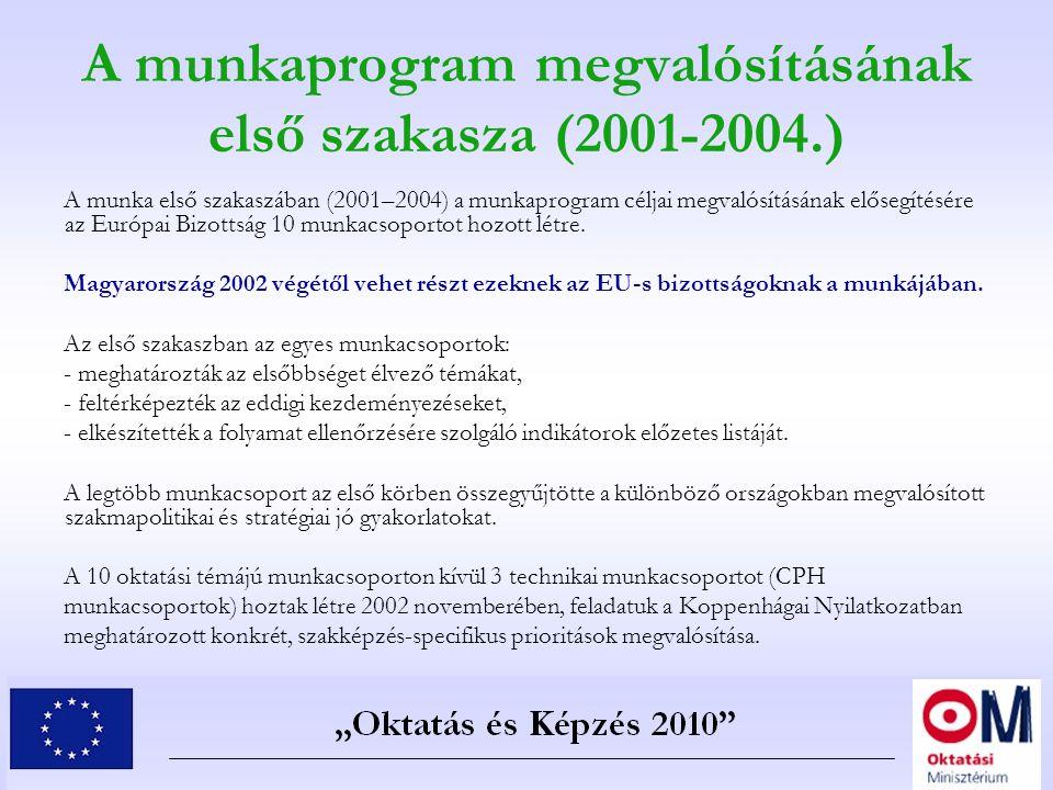 A munkaprogram megvalósításának első szakasza (2001-2004.) A munka első szakaszában (2001–2004) a munkaprogram céljai megvalósításának elősegítésére a