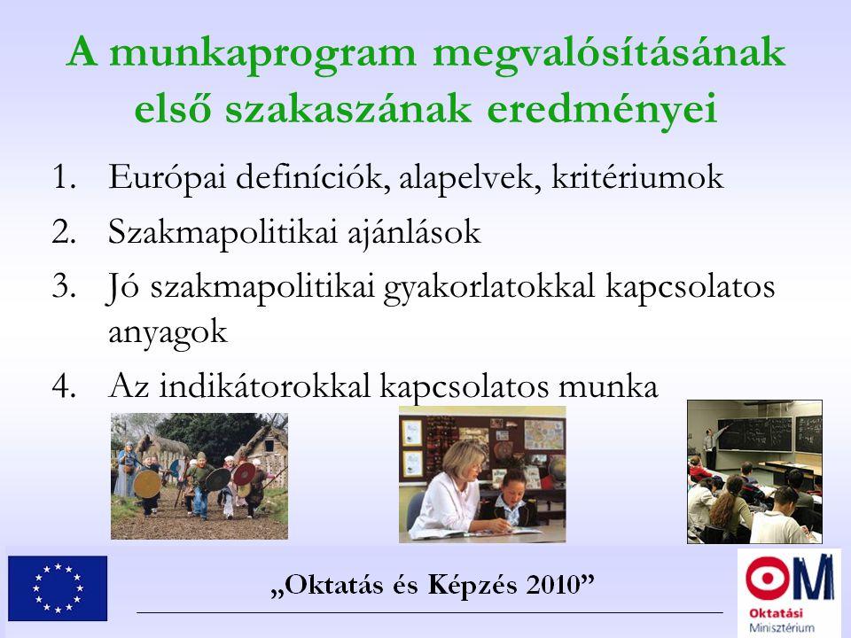 A munkaprogram megvalósításának első szakaszának eredményei 1.Európai definíciók, alapelvek, kritériumok 2.Szakmapolitikai ajánlások 3.Jó szakmapoliti