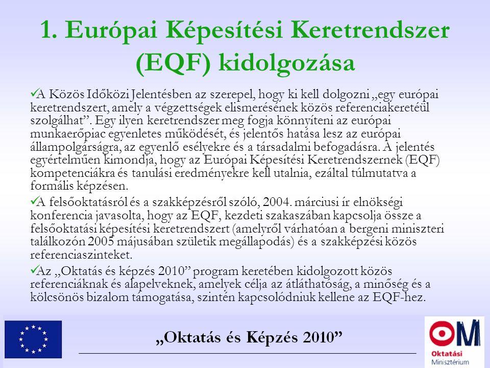"""1. Európai Képesítési Keretrendszer (EQF) kidolgozása A Közös Időközi Jelentésben az szerepel, hogy ki kell dolgozni """"egy európai keretrendszert, amel"""