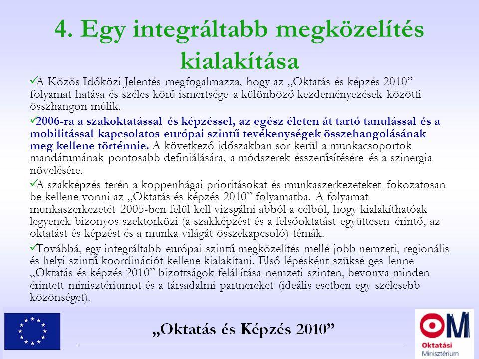 """4. Egy integráltabb megközelítés kialakítása A Közös Időközi Jelentés megfogalmazza, hogy az """"Oktatás és képzés 2010"""" folyamat hatása és széles körű i"""