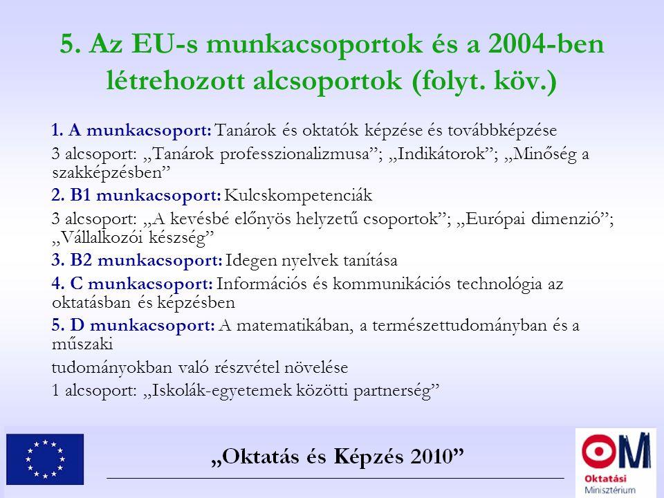 5. Az EU-s munkacsoportok és a 2004-ben létrehozott alcsoportok (folyt. köv.) 1. A munkacsoport: Tanárok és oktatók képzése és továbbképzése 3 alcsopo