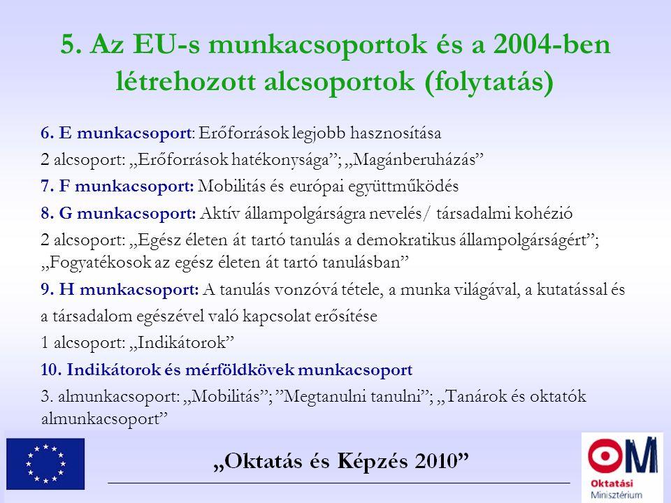"""5. Az EU-s munkacsoportok és a 2004-ben létrehozott alcsoportok (folytatás) 6. E munkacsoport: Erőforrások legjobb hasznosítása 2 alcsoport: """"Erőforrá"""
