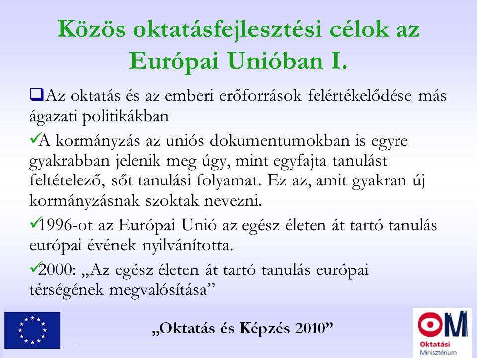 Közös oktatásfejlesztési célok az Európai Unióban I.  Az oktatás és az emberi erőforrások felértékelődése más ágazati politikákban A kormányzás az un