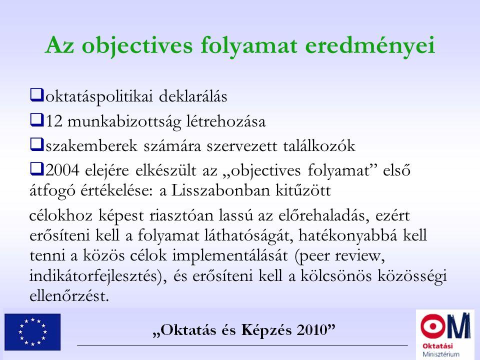 Az objectives folyamat eredményei  oktatáspolitikai deklarálás  12 munkabizottság létrehozása  szakemberek számára szervezett találkozók  2004 ele