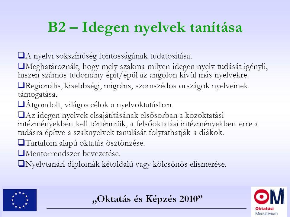 B2 – Idegen nyelvek tanítása  A nyelvi sokszínűség fontosságának tudatosítása.  Meghatároznák, hogy mely szakma milyen idegen nyelv tudását igényli,