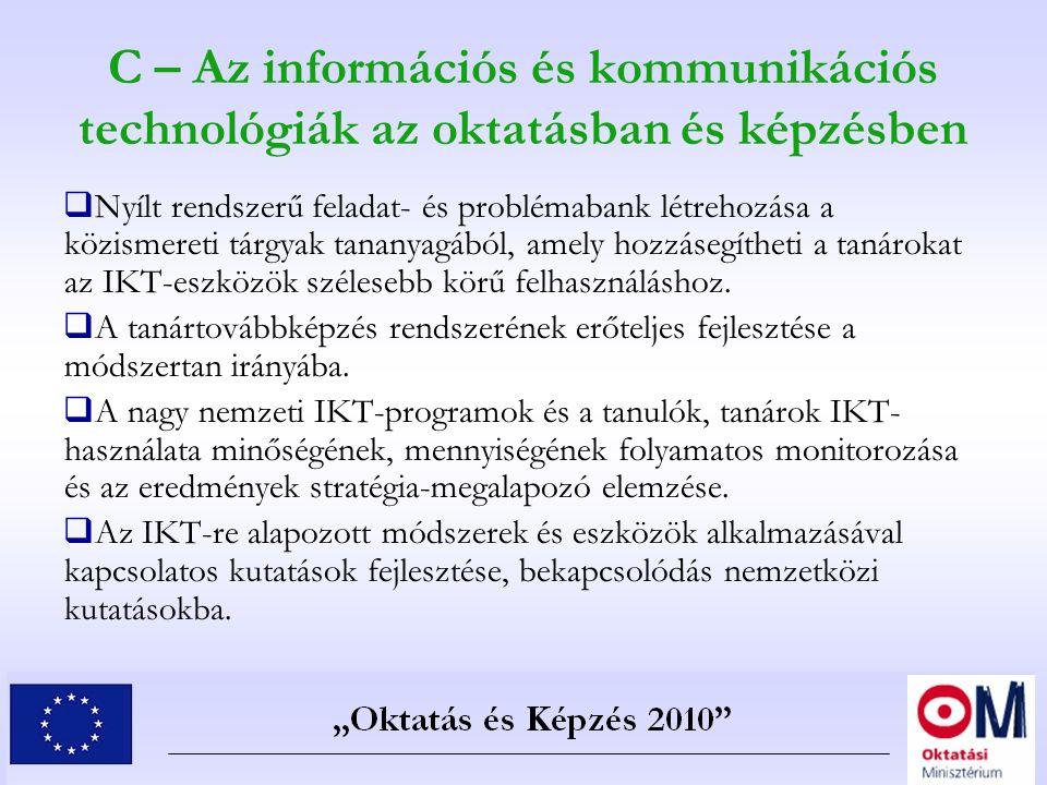 C – Az információs és kommunikációs technológiák az oktatásban és képzésben  Nyílt rendszerű feladat- és problémabank létrehozása a közismereti tárgy