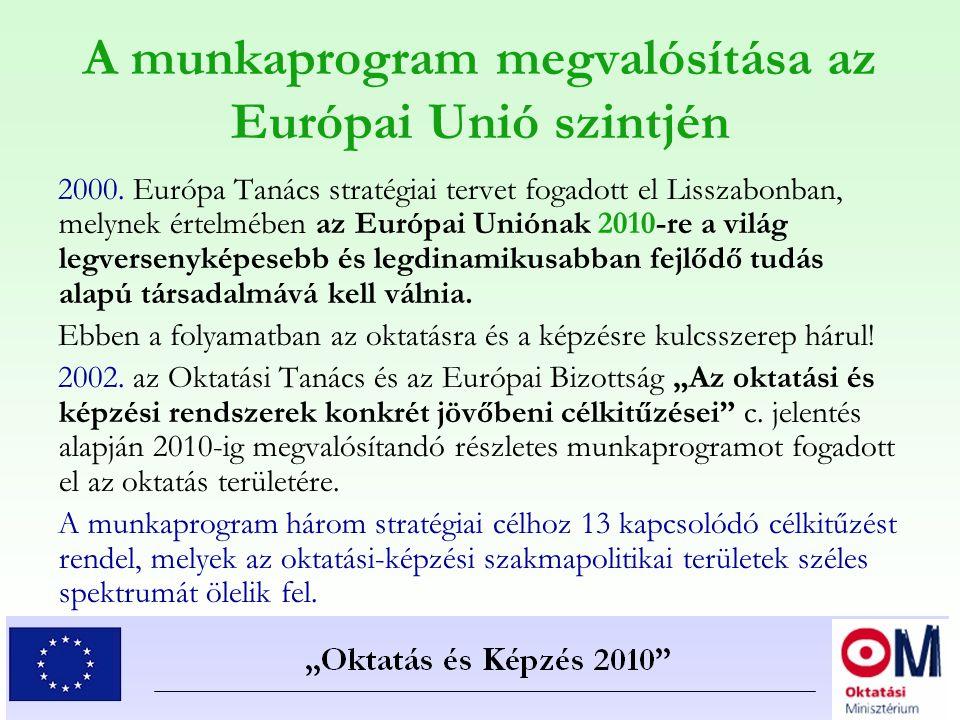 A munkaprogram megvalósítása az Európai Unió szintjén 2000. Európa Tanács stratégiai tervet fogadott el Lisszabonban, melynek értelmében az Európai Un