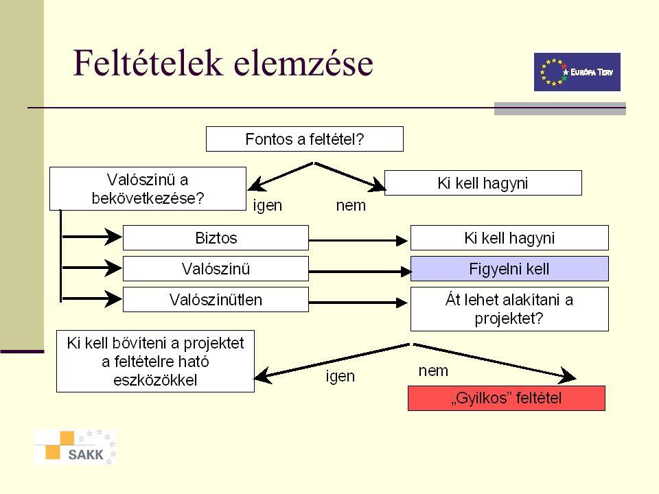 Logikai kapcsolatok a beavatkozási stratégia és feltételezések között Projekt leírás Objektíven igazolható eredményességi mutató Ellenőrzés forrásai é