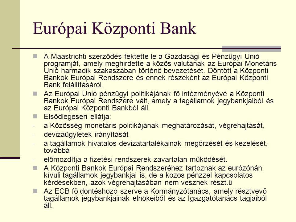 Európai Beruházási Bank A Római Szerződés hozta létre, 1958-ban. Székhelye Luxemburg. Célja, hogy tőkeberuházások finanszírozásával elősegítse a Közös