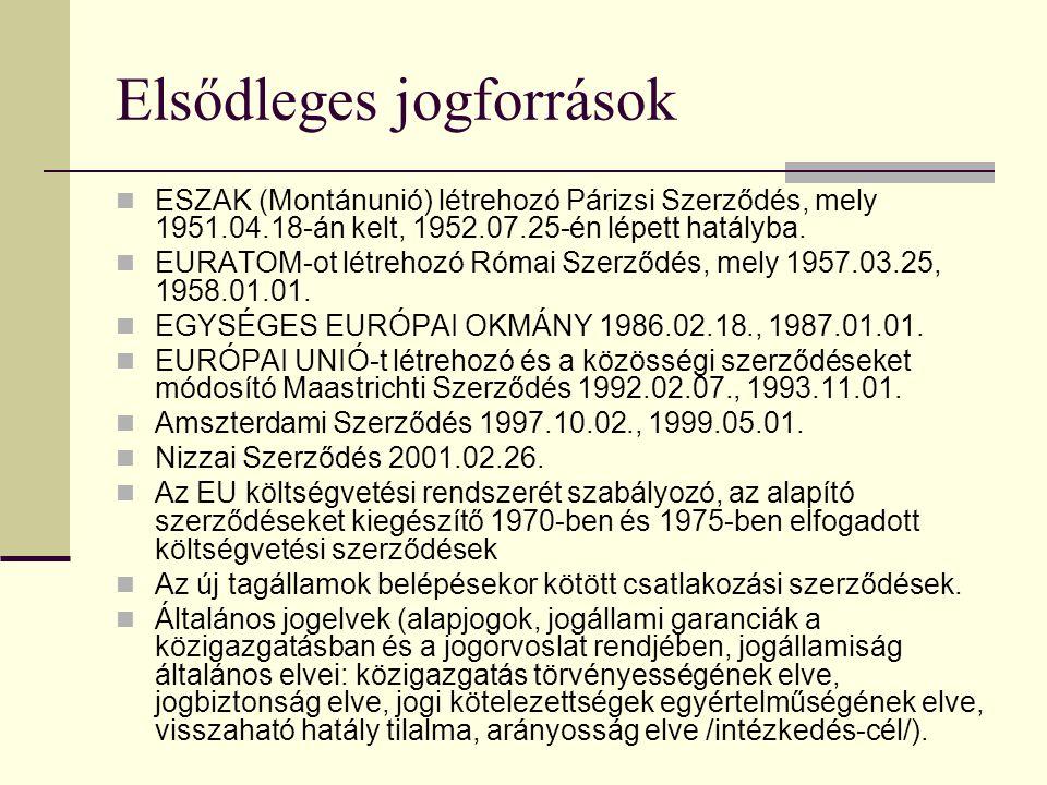 A közösségi jog forrásai A közösségi jog többféle jogforrásra épül: hozzátartoznak az Európai Unió alapszerződései, a közösségi intézmények által alko