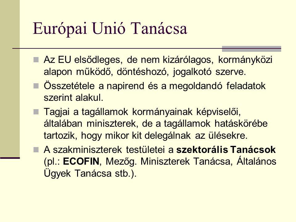 Az Európai Unió intézményrendszere Az Európai Unió döntéshozatali és működési mechanizmusait alapvetően négy fő szerv biztosítja: Tanács, Bizottság, P