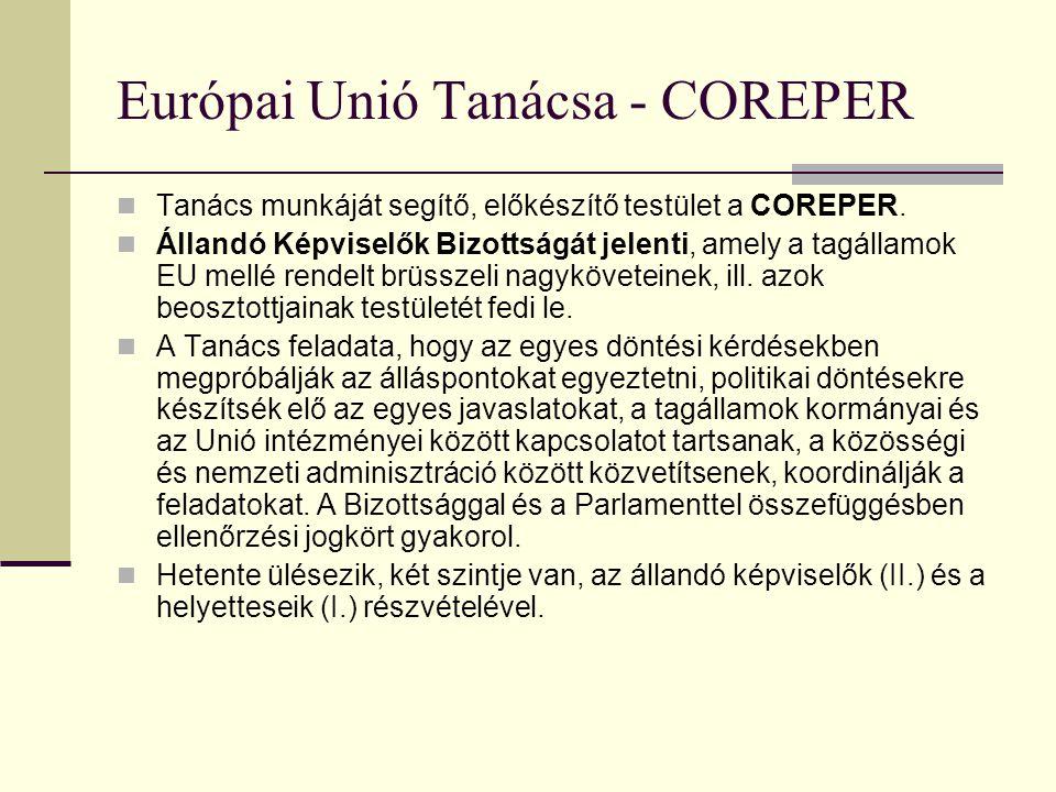 Európai Unió Tanácsa Az EU elsődleges, de nem kizárólagos, kormányközi alapon működő, döntéshozó, jogalkotó szerve. Összetétele a napirend és a megold