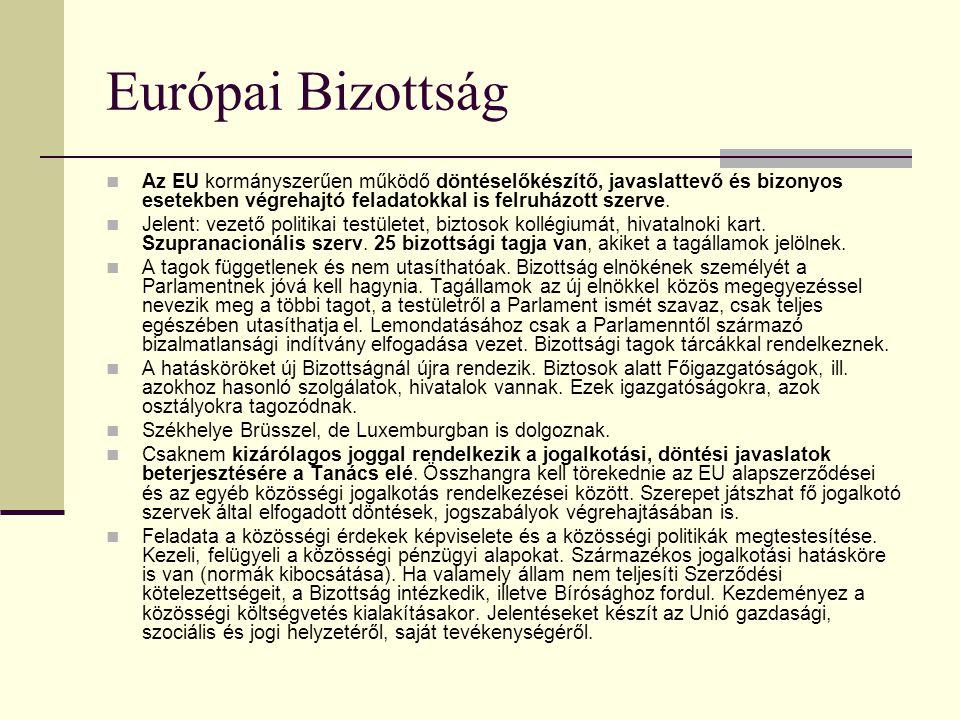 Európai Tanács Az EU állam- és kormányfőinek testülete, az Unió egyfajta csúcsszerveként működik. Évente legalább kétszer ül össze. Találkozóin az áll