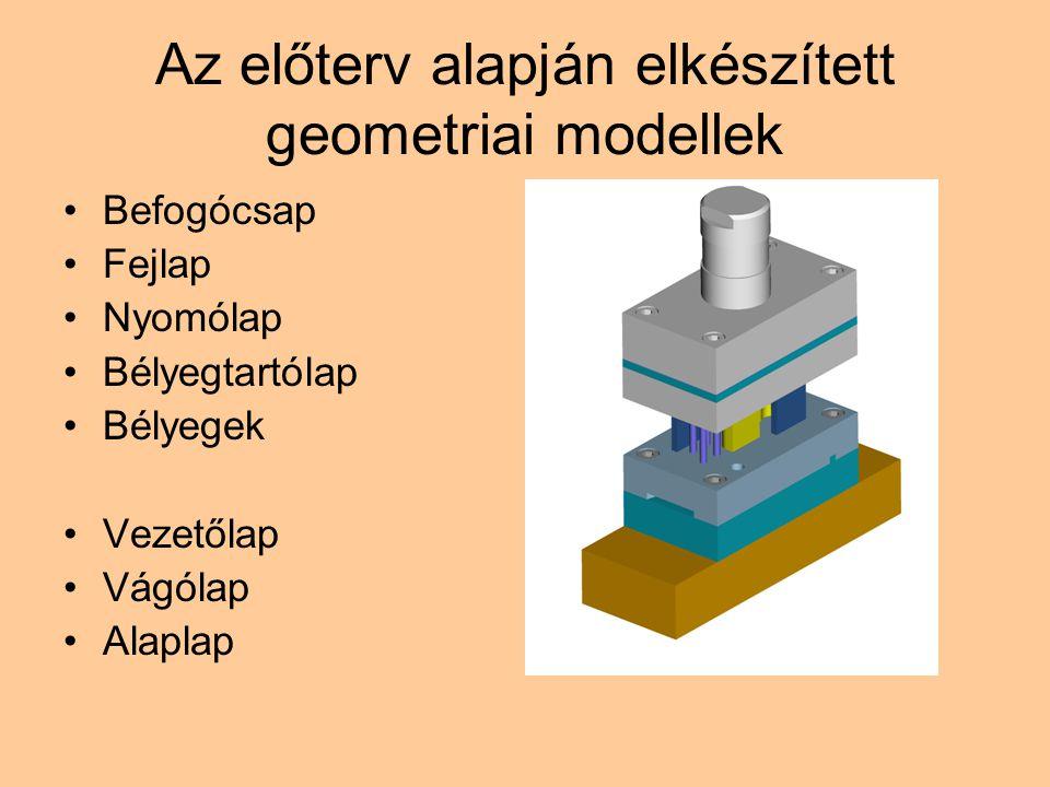 Az előterv alapján elkészített geometriai modellek Befogócsap Fejlap Nyomólap Bélyegtartólap Bélyegek Vezetőlap Vágólap Alaplap