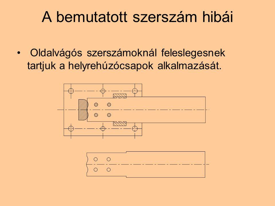A bemutatott szerszám hibái Oldalvágós szerszámoknál feleslegesnek tartjuk a helyrehúzócsapok alkalmazását.
