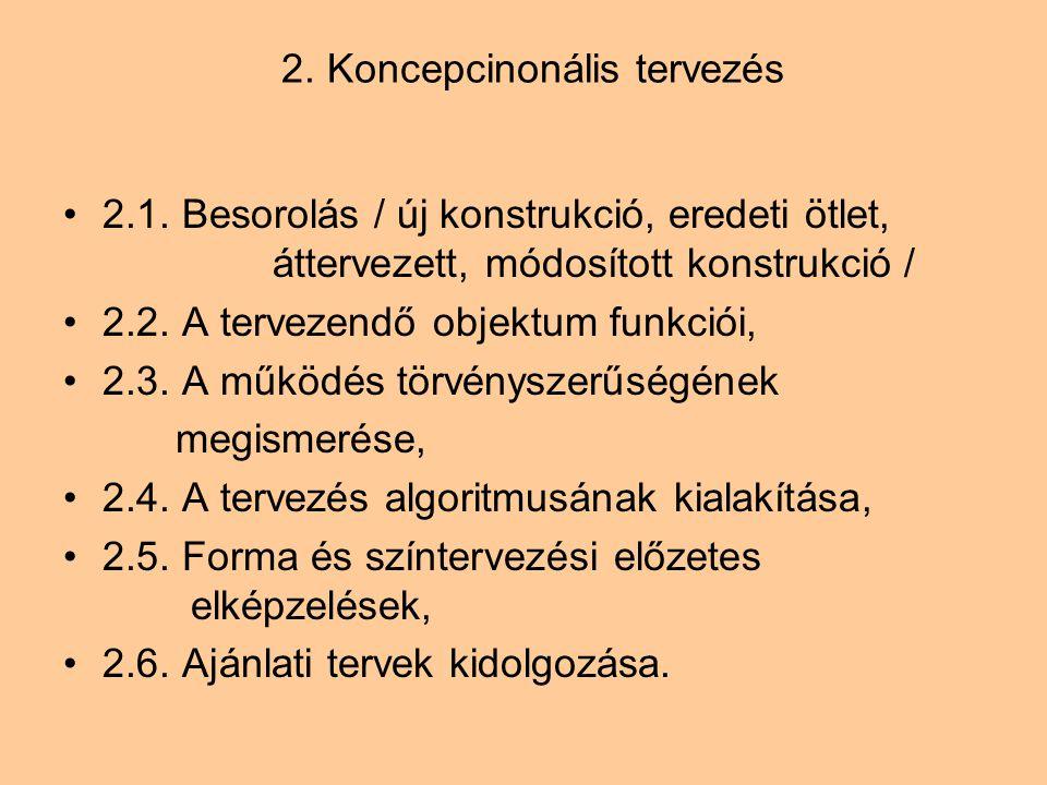 2. Koncepcinonális tervezés 2.1. Besorolás / új konstrukció, eredeti ötlet, áttervezett, módosított konstrukció / 2.2. A tervezendő objektum funkciói,