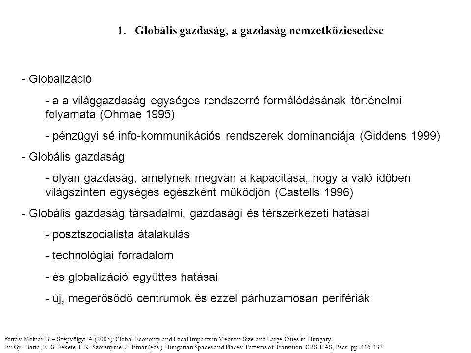 1.Globális gazdaság, a gazdaság nemzetköziesedése - Globalizáció - a a világgazdaság egységes rendszerré formálódásának történelmi folyamata (Ohmae 1995) - pénzügyi sé info-kommunikációs rendszerek dominanciája (Giddens 1999) - Globális gazdaság - olyan gazdaság, amelynek megvan a kapacitása, hogy a való időben világszinten egységes egészként működjön (Castells 1996) - Globális gazdaság társadalmi, gazdasági és térszerkezeti hatásai - posztszocialista átalakulás - technológiai forradalom - és globalizáció együttes hatásai - új, megerősödő centrumok és ezzel párhuzamosan perifériák forrás: Molnár B.