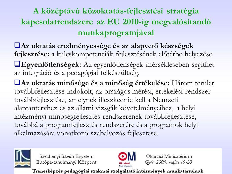 A középtávú közoktatás-fejlesztési stratégia kapcsolatrendszere az EU 2010-ig megvalósítandó munkaprogramjával  Az oktatás eredményessége és az alapv