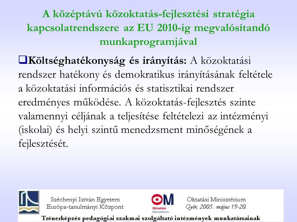 A középtávú közoktatás-fejlesztési stratégia kapcsolatrendszere az EU 2010-ig megvalósítandó munkaprogramjával  Költséghatékonyság és irányítás: A kö