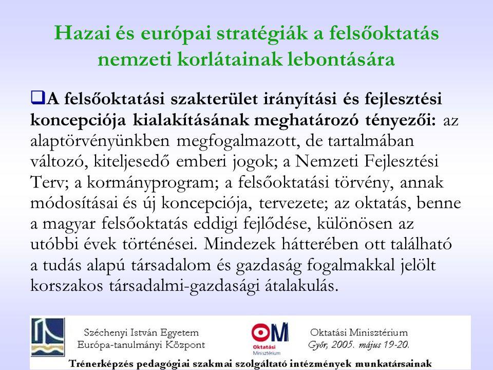 Hazai és európai stratégiák a felsőoktatás nemzeti korlátainak lebontására  A felsőoktatási szakterület irányítási és fejlesztési koncepciója kialakí