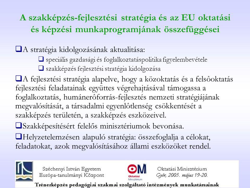 A szakképzés-fejlesztési stratégia és az EU oktatási és képzési munkaprogramjának összefüggései  A stratégia kidolgozásának aktualitása:  speciális