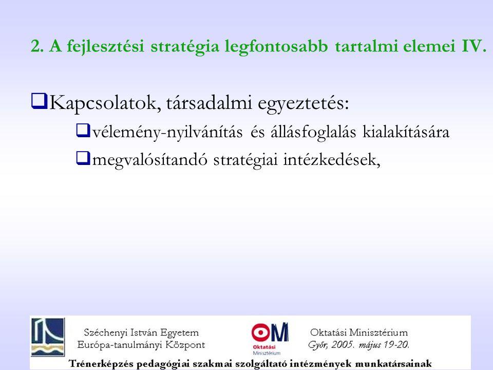 2. A fejlesztési stratégia legfontosabb tartalmi elemei IV.  Kapcsolatok, társadalmi egyeztetés:  vélemény-nyilvánítás és állásfoglalás kialakításár