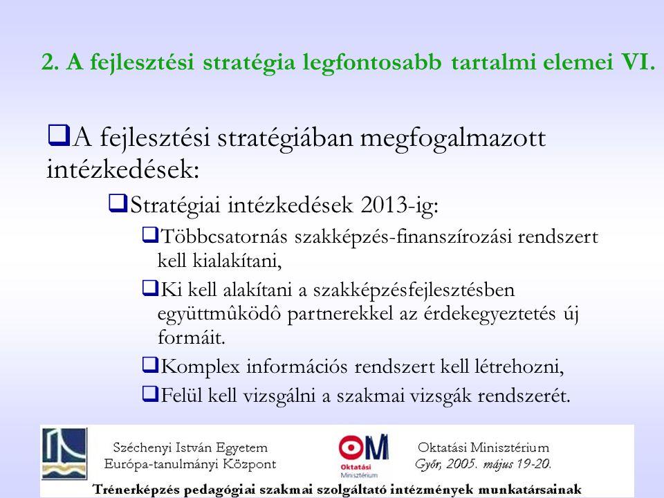 2. A fejlesztési stratégia legfontosabb tartalmi elemei VI.  A fejlesztési stratégiában megfogalmazott intézkedések:  Stratégiai intézkedések 2013-i