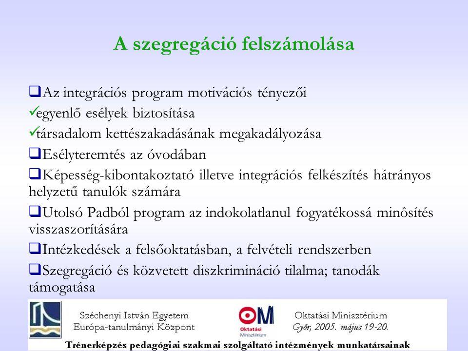 A szegregáció felszámolása  Az integrációs program motivációs tényezői egyenlő esélyek biztosítása társadalom kettészakadásának megakadályozása  Esé