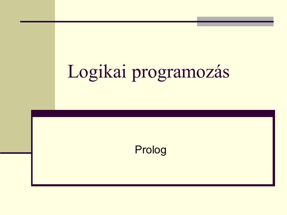 Metalogikai predikátumok Aritmetikai műveletek, beépített eljárások = =,, =:=, =\= +, -, *, /, mod, // Csak aritmetikai kifejezések lehetnek az argumentumok is/2 predikátumnak a jobb oldalán csak aritmetikai kifejezés állhat