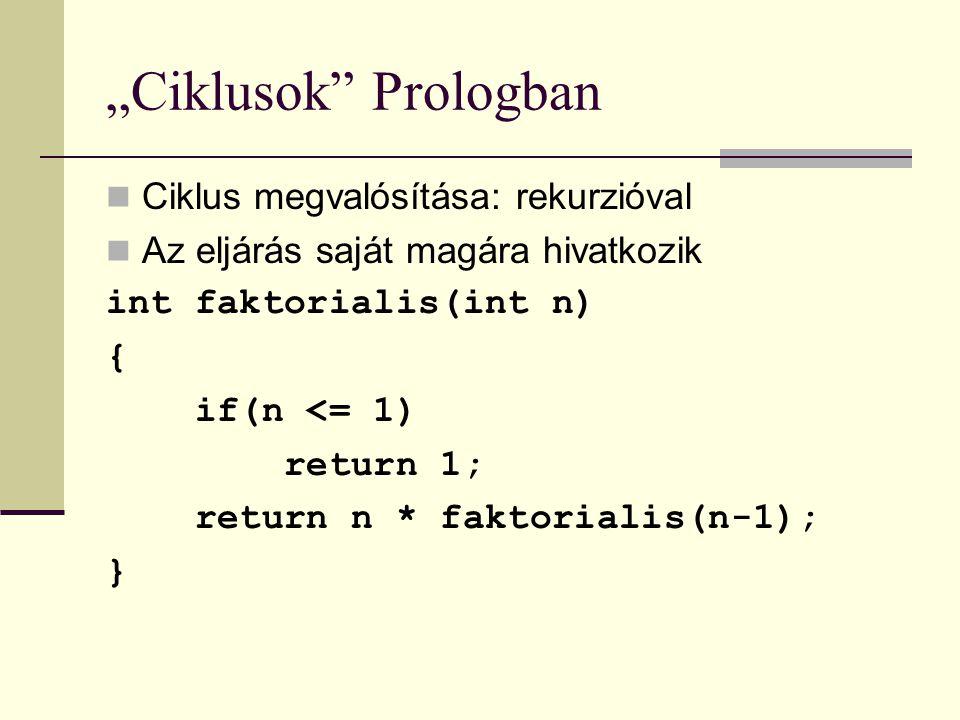 """""""Ciklusok Prologban Ciklus megvalósítása: rekurzióval Az eljárás saját magára hivatkozik int faktorialis(int n) { if(n <= 1) return 1; return n * faktorialis(n-1); }"""