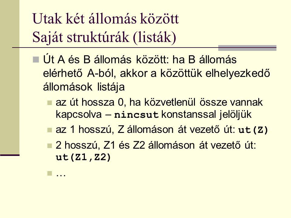 Utak két állomás között Saját struktúrák (listák) Út A és B állomás között: ha B állomás elérhető A-ból, akkor a közöttük elhelyezkedő állomások listája az út hossza 0, ha közvetlenül össze vannak kapcsolva – nincsut konstanssal jelöljük az 1 hosszú, Z állomáson át vezető út: ut(Z) 2 hosszú, Z1 és Z2 állomáson át vezető út: ut(Z1,Z2) …