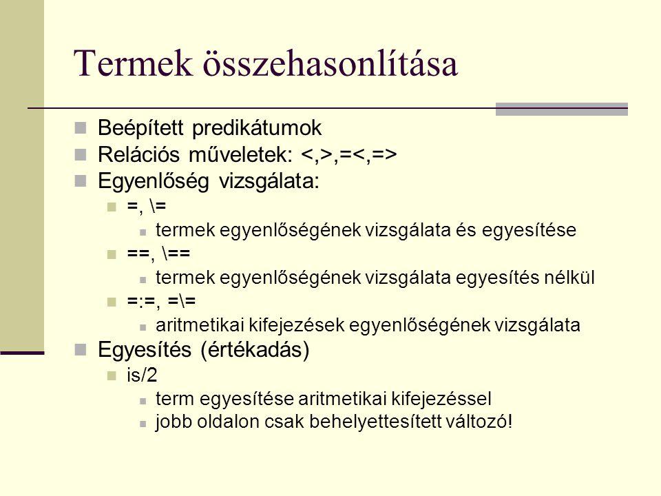 Termek összehasonlítása Beépített predikátumok Relációs műveletek:,= Egyenlőség vizsgálata: =, \= termek egyenlőségének vizsgálata és egyesítése ==, \== termek egyenlőségének vizsgálata egyesítés nélkül =:=, =\= aritmetikai kifejezések egyenlőségének vizsgálata Egyesítés (értékadás) is/2 term egyesítése aritmetikai kifejezéssel jobb oldalon csak behelyettesített változó!