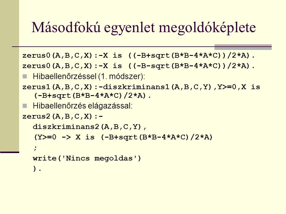 Másodfokú egyenlet megoldóképlete zerus0(A,B,C,X):-X is ((-B+sqrt(B*B-4*A*C))/2*A).
