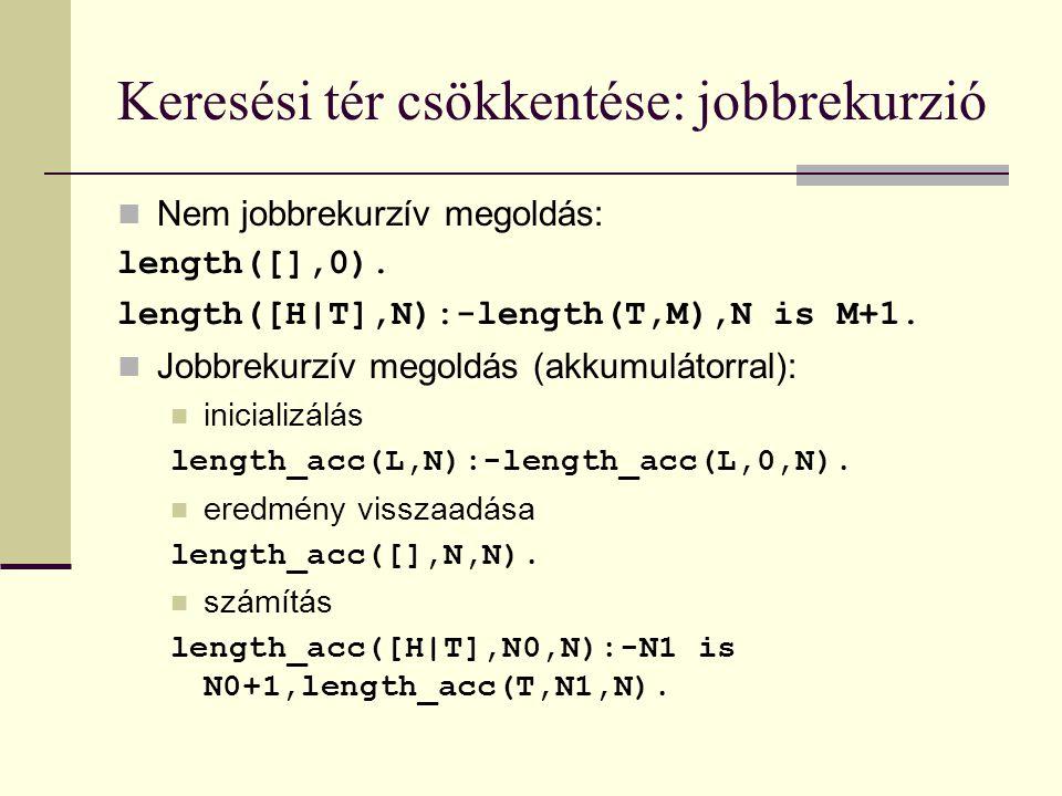 Keresési tér csökkentése: jobbrekurzió Nem jobbrekurzív megoldás: length([],0).