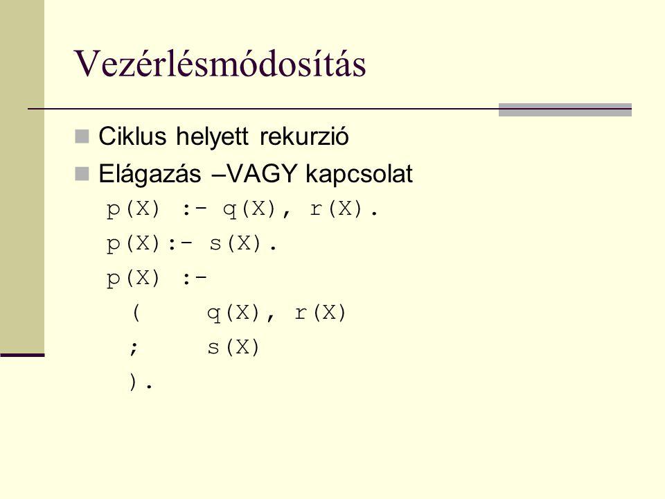 Vezérlésmódosítás Ciklus helyett rekurzió Elágazás –VAGY kapcsolat p(X) :- q(X), r(X).