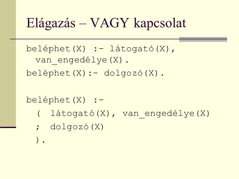 Elágazás – VAGY kapcsolat beléphet(X) :- látogató(X), van_engedélye(X).
