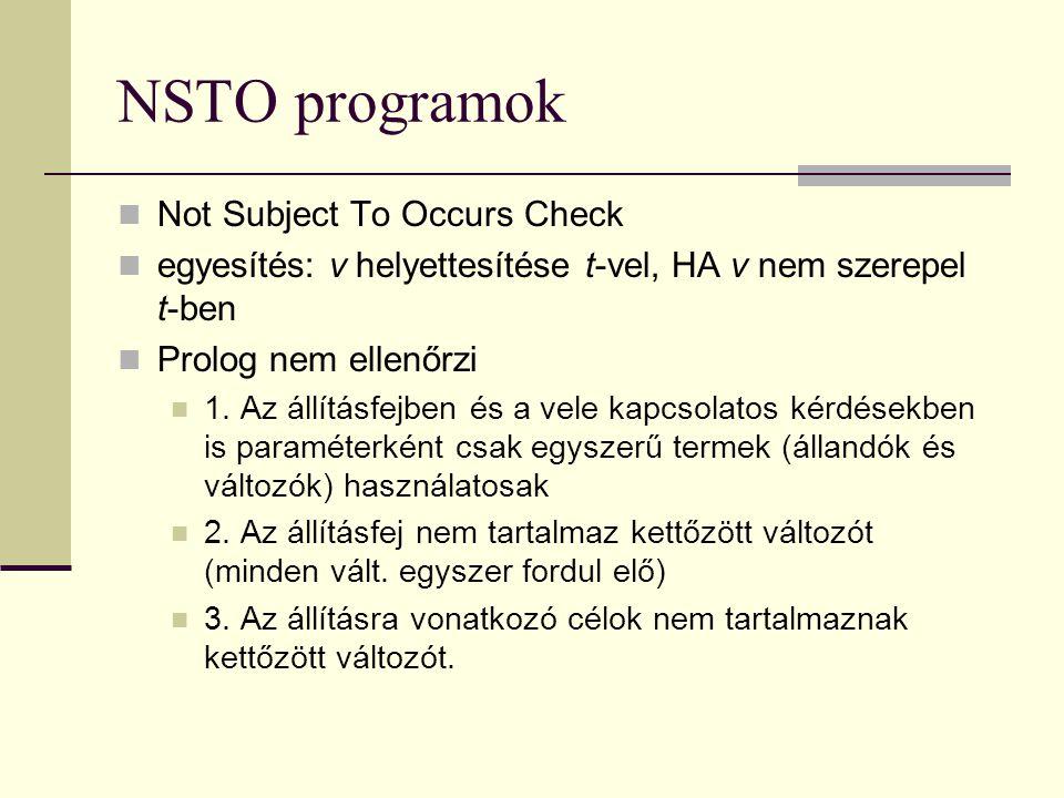NSTO programok Not Subject To Occurs Check egyesítés: v helyettesítése t-vel, HA v nem szerepel t-ben Prolog nem ellenőrzi 1.