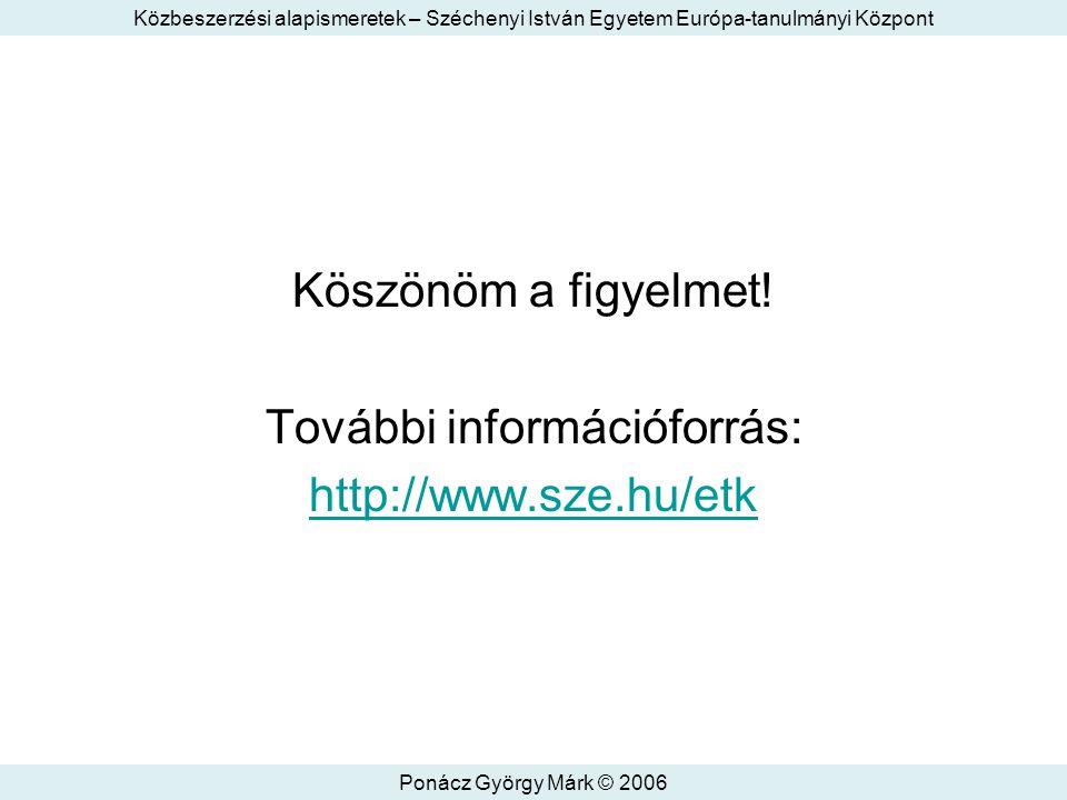 Közbeszerzési alapismeretek – Széchenyi István Egyetem Európa-tanulmányi Központ Ponácz György Márk © 2006 Köszönöm a figyelmet.