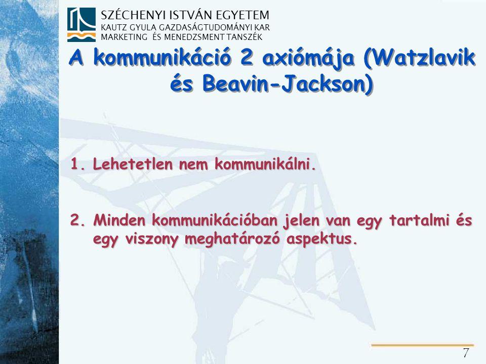 SZÉCHENYI ISTVÁN EGYETEM KAUTZ GYULA GAZDASÁGTUDOMÁNYI KAR MARKETING ÉS MENEDZSMENT TANSZÉK 7 A kommunikáció 2 axiómája (Watzlavik és Beavin-Jackson)