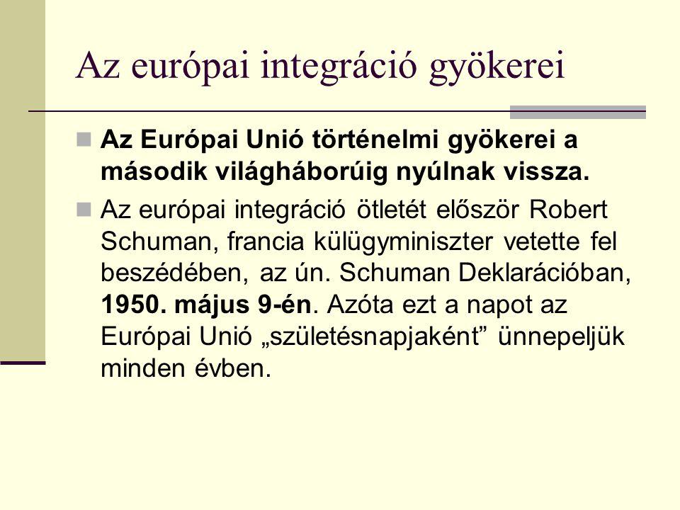 Az európai integráció gyökerei Az Európai Unió történelmi gyökerei a második világháborúig nyúlnak vissza.