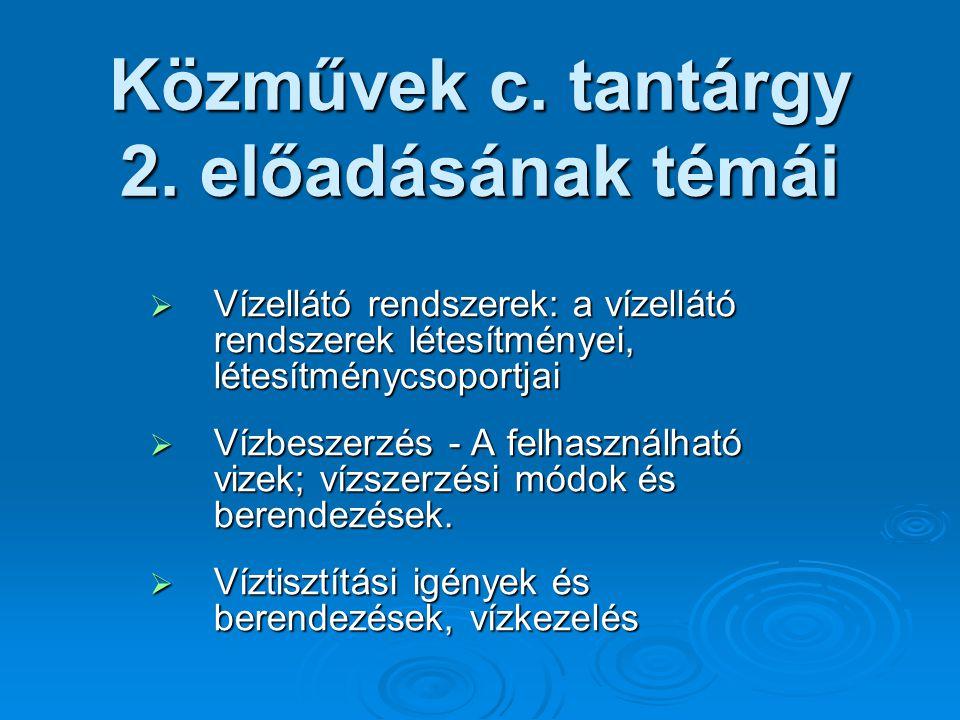 Közművek c.tantárgy 2.